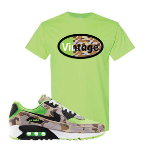 Air Max 90 Duck Camo Ghost Green T Shirt | Neon Green, Vintage Oval