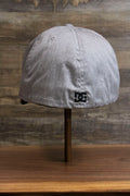 the back of the Light Gray Bentbrim Skater Hat | DC Shoes Black Bottom Heather Gray Flexfit Cap is elastic for a stretch fit