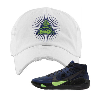 KD 13 Planet of Hoops Distressed Dad Hat | All Seeing Eye, White