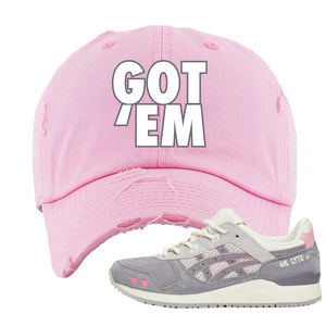 END x Asics Gel-Lyte III Grey And Pink Distressed Dad Hat | Got Em, Pink