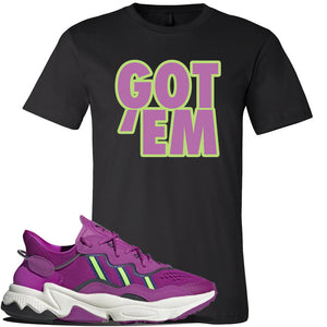 Ozweego Vivid Pink Sneaker Black T Shirt | Tees to match Adidas Ozweego Vivid Pink Shoes | Got Em