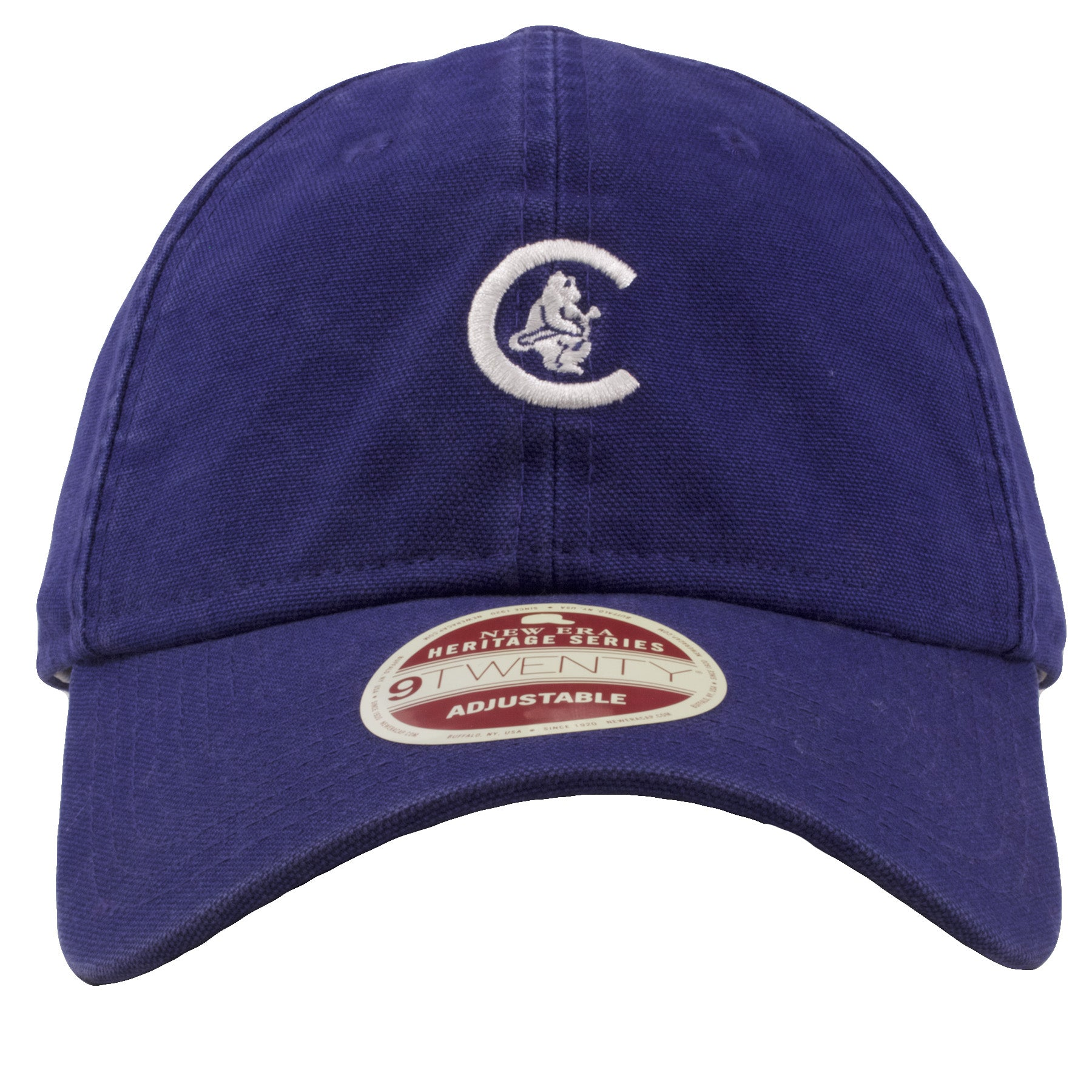 46d1c27d771 embroidered on the front of the chicago cubs vintage dad hat is the retro  cubs logo