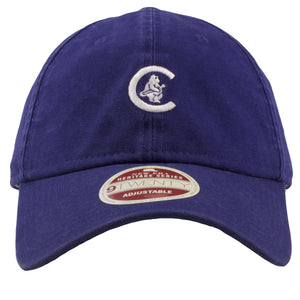 embroidered on the front of the chicago cubs vintage dad hat is the retro cubs logo