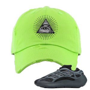 Yeezy Boost 700 V3 Alvah Sneaker Neon Green Distressed Dad Hat | Hat match Adidas Yeezy Boost 700 V3 Alvah Shoes | All Seeing Eye
