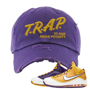 Lebron 7 'Media Day' Distressed Dad Hat | Purple, Trap To Rise Above Poverty