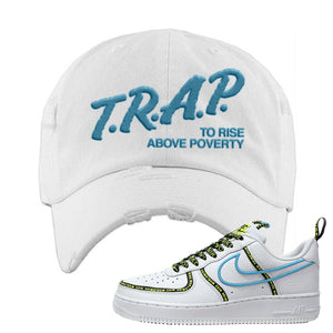 Air Force 1 '07 PRM 'Worldwide Pack' Distressed Dad Hat | White, Trap To Rise Above Poverty