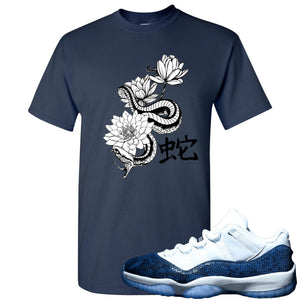 Jordan 11 Low Blue Snakeskin Snake With Lotus Flowers Navy Blue T-Shirt
