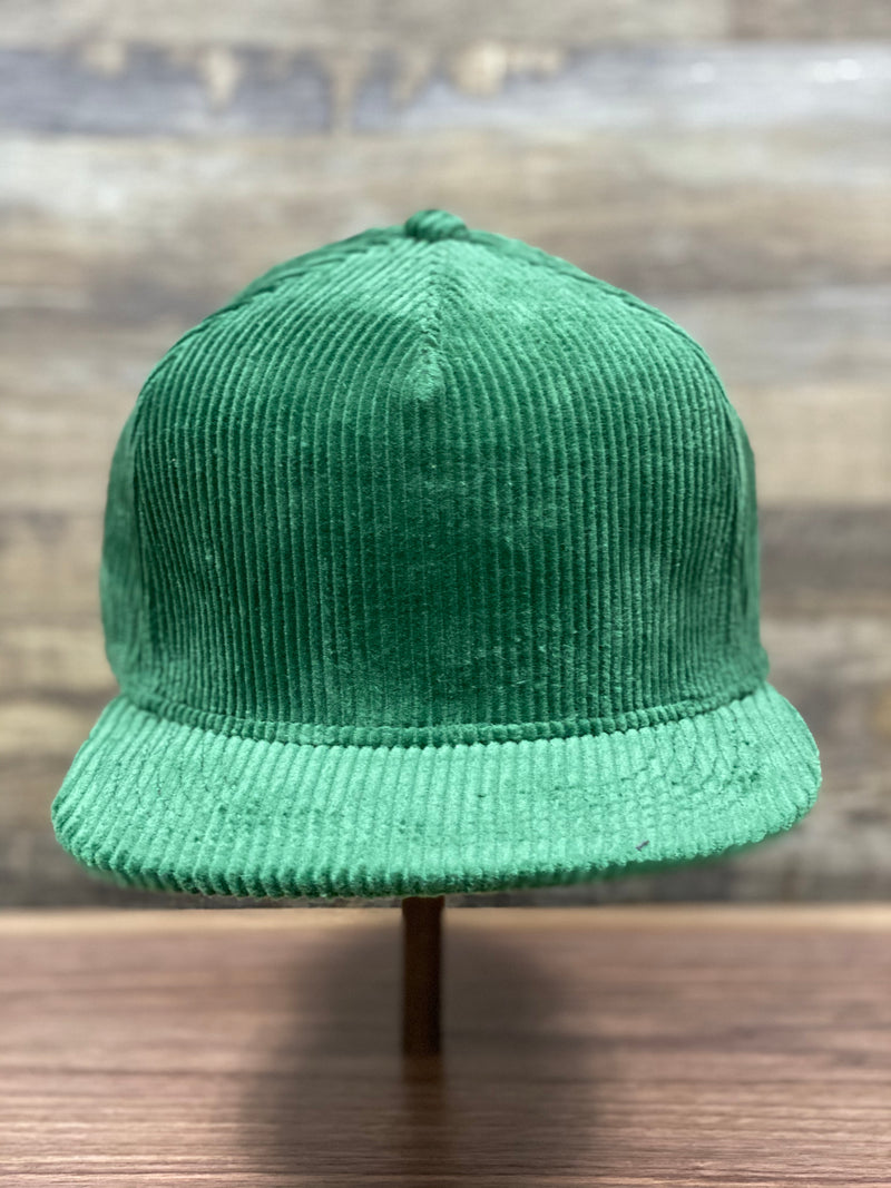 front of Kelly Green Corduroy Snapback | Corduroy Snapback for Embroidery | Foot clan for brand start up