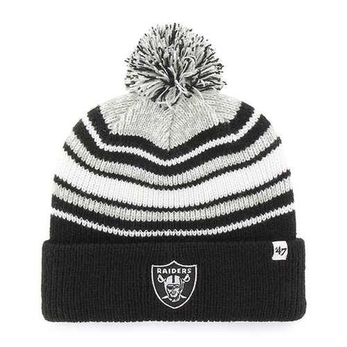 embroidered on the front of the youth sized striped Oakland Raiders beanie  is the Oakland Raiders 1e80616abf8a