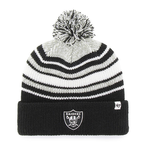 embroidered on the front of the youth sized striped Oakland Raiders beanie is the Oakland Raiders logo in black and gray