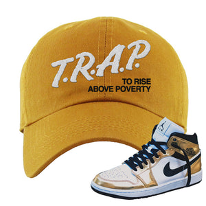 Air Jordan 1 Mid SE Metallic Gold Dad Hat | Trap To Rise Above Poverty, Wheat