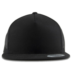 The black trucker mesh-back snapback hat is solid black with a blank front panel