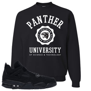 Air Jordan 4 Black Cat Panther University Black Made to Match Crewneck Sweatshirt