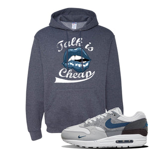 Air Max 1 'London City Pack' Sneaker Vintage Heather Navy Pullover Hoodie | Hoodie to match Nike Air Max 1 'London City Pack' Shoes | Talk is Cheap