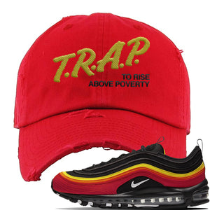 Air Max 97 Black/Chile Red/Magma Orange/White Sneaker Red Distressed Dad Hat | Hat to match Nike Air Max 97 Black/Chile Red/Magma Orange/White Shoes | Trap to Rise Above Poverty