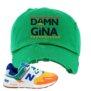997S Multicolor Sneaker Kelly Distressed Dad Hat | Hat to match New Balance 997S Multicolor Shoes | Damn Gina