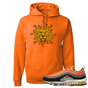Printed on the front of the Air Max 97 Sunburst safety orange sneaker matching pullover hoodie is the vintage lion head logo