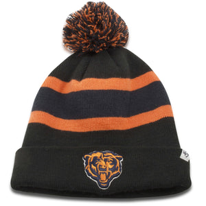 Chicago Bears Black/Orange Striped Winter Pom Beanie