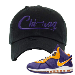 Lebron 8 Lakers Distressed Dad Hat | Chiraq, Black