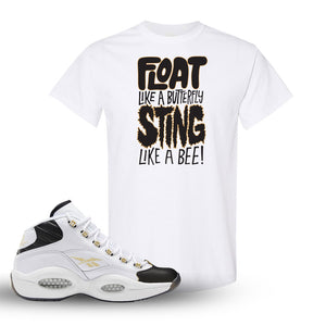 Reebok Question Mid Black Toe T Shirt | White, Float Like A Butterfly Lettering