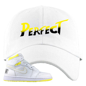 Air Jordan 1 First Class Flight Street Fight Perfect White Sneaker Matching Dad Hat
