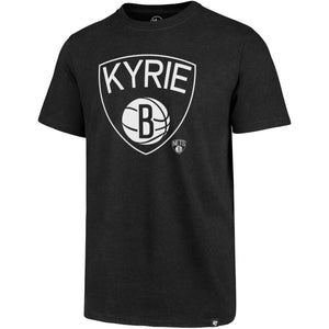 Printed on the front of the Kyrie Irving Brooklyn Nets Shield T-Shirt is the Nets logo with the word Kyrie in white