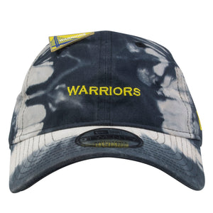 embroidered on the front of the golden state warriors tie dye dad hat is the warriors lettering in yellow