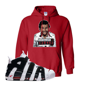 Air More Uptempo White Black Red Hoodie | Red, Escobar Illustration