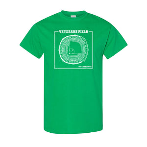 The Vet Seating ChartT-Shirt | Veterans Stadium Seating Chart Kelly Green Tee Shirt the front of this t-shirt has the vet seating chart