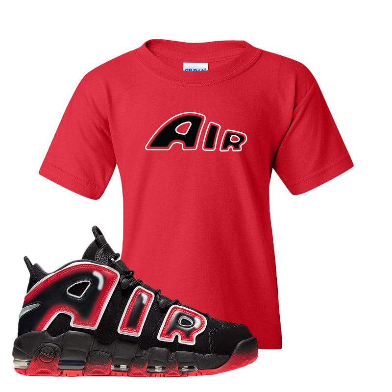 Air More Uptempo Laser Crimson Kid's T Shirt | Red, Air From The Sneaker