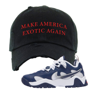 Air Barrage Low USA Distressed Dad Hat | Black, Make America Exotic Again
