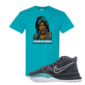 Kyrie 7 Pre Heat T-Shirt | Oh My Goodness, Tropical Blue