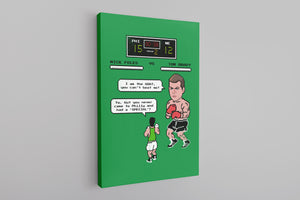 Nick Foles Vintage Videogame Canvas | Foles Vs Brady Knockout Kelly Green Retro Wall Canvas the front of this canvas has the foles vs brady design