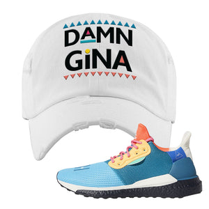 Foot Clan  Pharrel Williams X SolarHU Multicolor  Damn Gina  White  Distressed Dad Hat    Rock your favorite pair of kicks in style with this Pharrel Williams X SolarHU Multicolor Sneaker White Distressed Dad Hat. The Damn Gina logo on the front of this Pharrel Williams X SolarHU Multicolor Sneaker White Distressed Dad Hat is what your sneaker matching outfit has been missing. Match your shoes today!