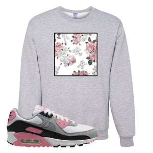 WMNS Air Max 90 Rose Pink Flower Box Ash Crewneck Sweatshirt To Match Sneakers