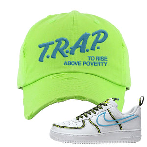 Air Force 1 '07 PRM 'Worldwide Pack' Distressed Dad Hat | Neon Green, Trap To Rise Above Poverty