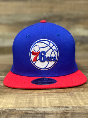 sixers snapback hat | 76ers colorway 950 snapback | Blue and red 76er snapback