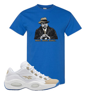 Reebok Question Low Oatmeal T Shirt | Royal Blue, Capone Illustration