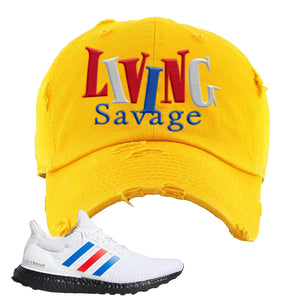 Ultra Boost White Red Blue Distressed Dad Hat | Gold, Living Savage
