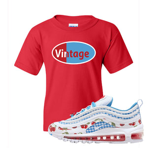 Air Max 97 GS SE Cherry Kids T-Shirt | Vintage Oval, Red