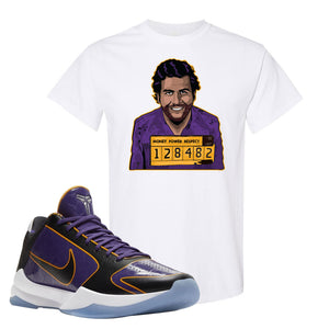 Kobe 5 Protro 5x Champ T Shirt | Escobar Illustration, White