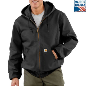 The black carhartt jacket is made in america and is incredibly warm