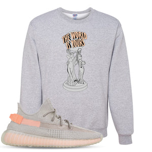 Yeezy Boost 350 True Form V2 Sneaker Hook Up The World Is Yours Heathered Light Gray Crewneck Sweater
