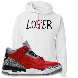 Jordan 3 Red Cement Hoodie | White, Lover