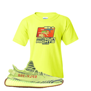 Water Soaker Safety Green Kid's T-Shirt to match Yeezy Boost 350 V2 Frozen Yellow Sneaker