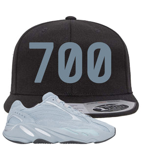 Yeezy Boost 700 V2 Hospital Blue 700 Sneaker Matching Black Snapback Hat
