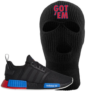 NMD R1 Black Red Boost Matching Ski Mask | Sneaker Ski Mask to match NMD R1s | Got Em, Black