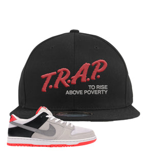 Nike SB Dunk Low Infrared Orange Label Trap To Rise Above Poverty Black Snapback Hat To Match Sneakers