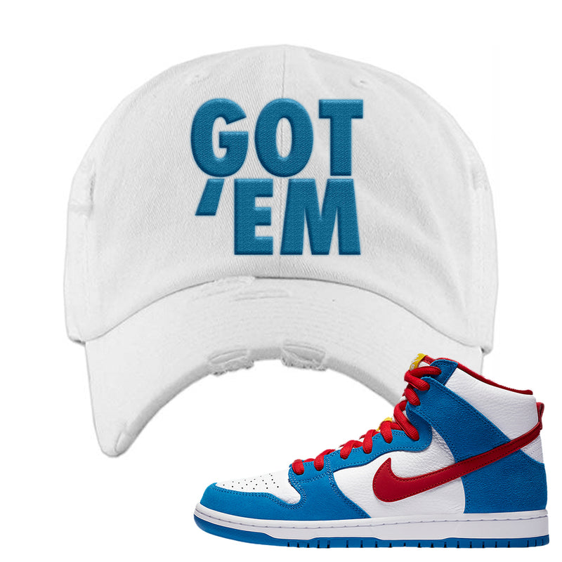 SB Dunk High Doraemon Distressed Dad Hat | Got Em, White