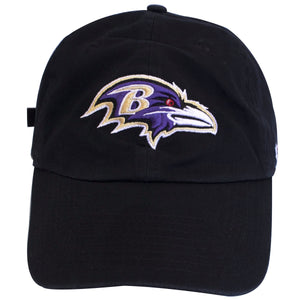 on the front of the baltimore ravens black adjustable dad hat is the baltimore ravens logo embroidered in purple, white, red, tan and black